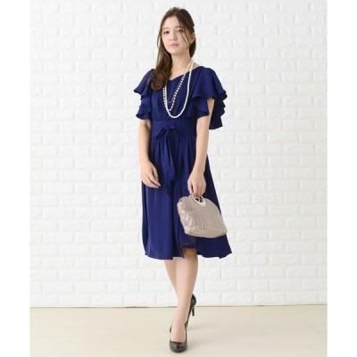ドレス フリル袖巻きスカート風ワンピース・ドレス