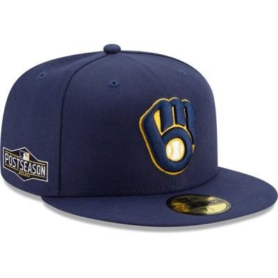ブリュワーズ キャップ 帽子 ニューエラ New Era 59FIFTY ネイビー MLB 2020 ポストシーズン プレーオフ MLB2020PS