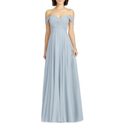 ドレッシーコレクション ワンピース トップス レディース Lux Ruched Off the Shoulder Chiffon Gown Mist