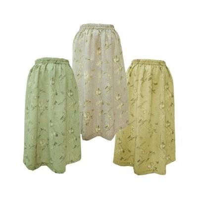 ちりめん スカート A柄 (日本製 レディース 婦人 ウエストゴム)