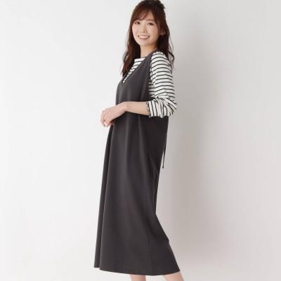 ピンクアドベ pink adobe 【M-3L/SET】プルオーバー付き ジャンパースカート (チャコールグレー)