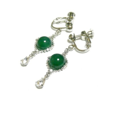 グリーンオニキス・しずくクリスタルのイヤリング