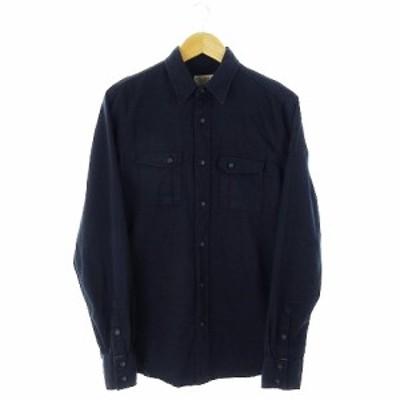 【中古】ヌーディージーンズ nudie jeans シャツ ワーク 長袖 厚手 ロゴ刺繍 S 紺 ネイビー /AH18 ☆ メンズ