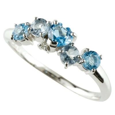 ピンキーリング 指輪 ホワイトゴールドリング ブルートパーズ ハート アクアマリンダイヤモンド ホワイトゴールドk10 10金 ダイヤ 宝石 送料無料