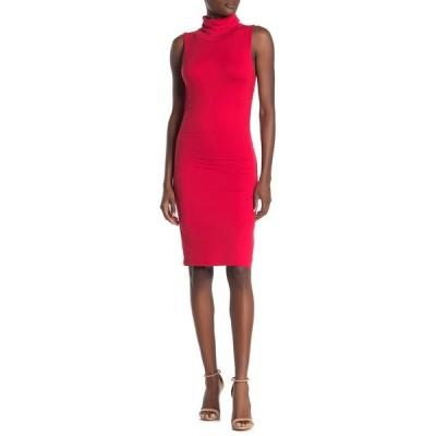ベルベットトーチ レディース ワンピース トップス Ruched Sleeveless Turtleneck Dress RED