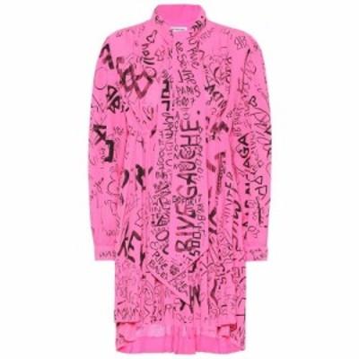 バレンシアガ Balenciaga レディース ワンピース ワンピース・ドレス printed crepe minidress Fluo Pink/Black
