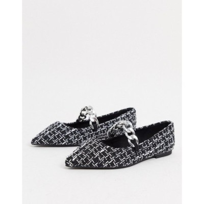 エイソス レディース パンプス シューズ ASOS DESIGN Lise pointed chain ballet flats in black and white tweed