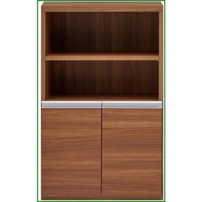 送料無料 収納棚 オープン棚 + 戸棚 リアルウォールナット ECD-61H b03