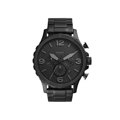 Fossil Men's Nate Quartz Stainless Chronograph Watch, Color: Black Stainless (Model: JR1401)[並行輸入品]