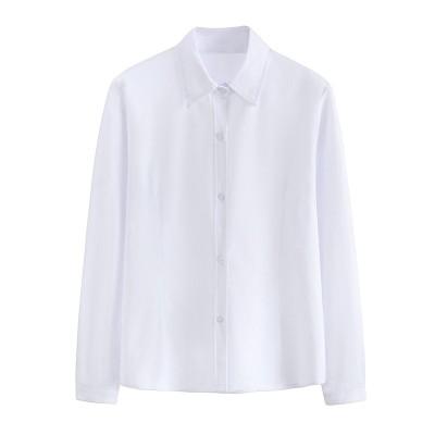 日本の大学スタイルの小さな新鮮なシャツの女性の先のとがった襟長袖の作業服学生の学校の制服クラスの制服の白いシャツの女性C1