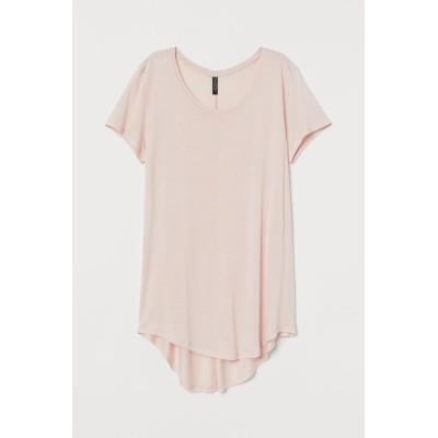 H&M - ラウンドヘムTシャツ - ピンク