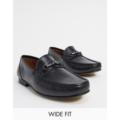 エイソス メンズ スリッポン・ローファー シューズ ASOS DESIGN Wide Fit loafers in black leather