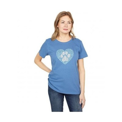 Life is good ライフイズグッド レディース 女性用 ファッション Tシャツ Crusher(TM) Tee Animal Heart - Vintage Blue