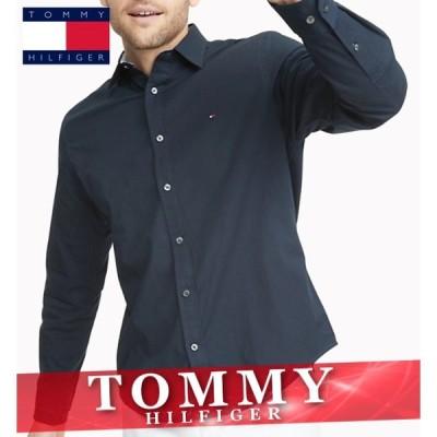 トミーヒルフィガー 無地シャツ 長袖 メンズ エッセンシャル ソリッド ロゴ XS〜XXL カジュアル 新作 TOMMY