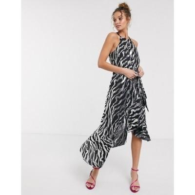 フォーエバー ユー レディース ワンピース トップス Forever U sequin midi dress with ruffle detail in black and silver zebra