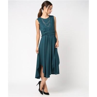 ドレス 【Cupid Heart】結婚式、二次会、ちょとしたお食事会におすすめドレス♪2連ネックレス付ウエストギャザーミディアム丈ドレス