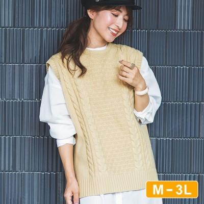 Ranan 【M~3L】ケーブルニットベスト グレー M レディース