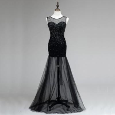 ブラック パーティードレス イブニングドレス ロングドレス カラードレス セクシードレス マーメイド 透け感 誘惑 キャバ嬢