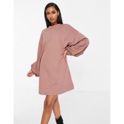 エイソス レディース ワンピース トップス ASOS DESIGN oversized sweatshirt dress with jumbo sleeve in brown Brown