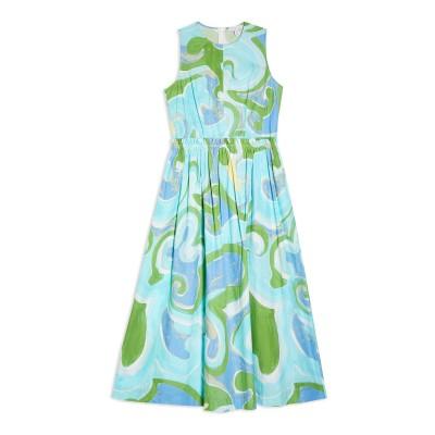 トップショップ TOPSHOP 7分丈ワンピース・ドレス スカイブルー 8 コットン 100% 7分丈ワンピース・ドレス