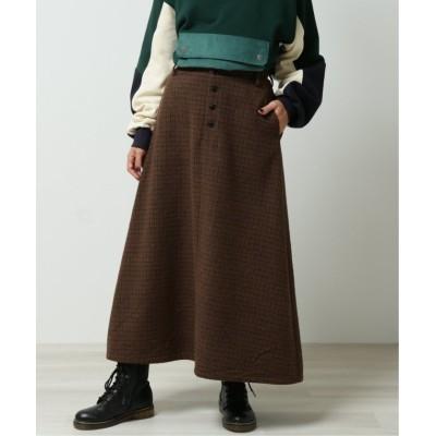 【ダブルネーム】 チェックロングスカート レディース ブラウン FREE DOUBLE NAME