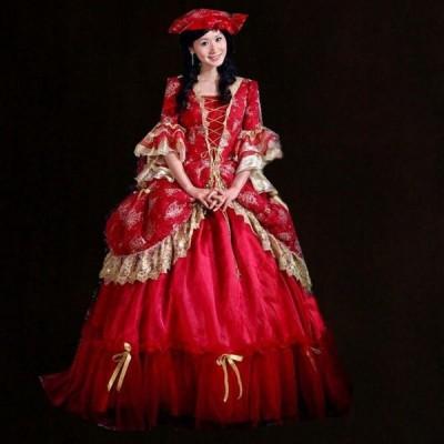 ワインレッドドレス ヨーロッパ 結婚式 衣装 豪華な女王 王様 服 貴族 パーティードレス ウェディングドレスda191f0f0g2