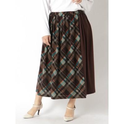 【大きいサイズ】バイヤスチェック柄ニットスカート 大きいサイズ スカート レディース