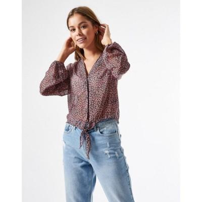 ミス セルフリッジ Miss Selfridge レディース ブラウス・シャツ トップス shirred blouse in black ditsy ブラック