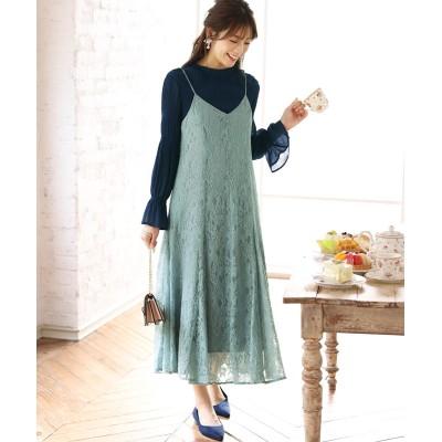 大きいサイズ レースミディ丈ワンピース ,スマイルランド, ワンピース, plus size dress