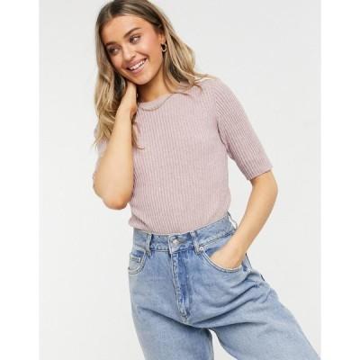 ジェイディーワイ レディース カットソー トップス JDY Pernille short sleeve knitted t shirt in mauve Woodrose