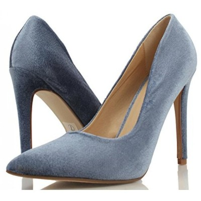 デリシャス レディース パンプス Delicious Women's Cindy Pointy Toe Velvet Single Sole Classic Pump