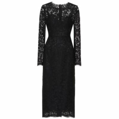 ドルチェandガッバーナ Dolce and Gabbana レディース ワンピース ミドル丈 ワンピース・ドレス Lace midi dress Black