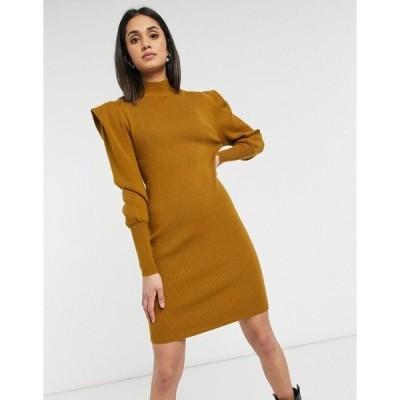 ヴィラ レディース ワンピース トップス Vila high neck knitted dress with shoulder pads in mustard Mustard