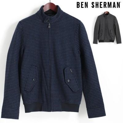 ベンシャーマン Ben Sherman ハリントンジャケット スウィングトップ ウール ブルゾン ドッグトゥース 千鳥格子 2色 ネイビー チャコール