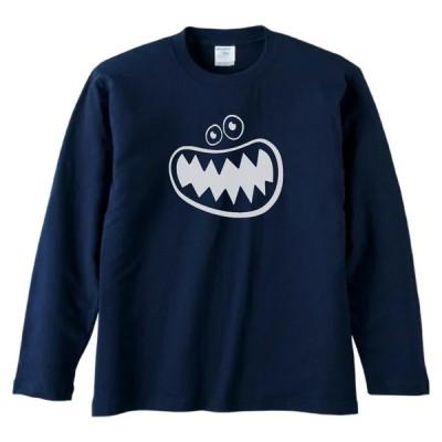 デザイン おもしろ 怪獣の口 長袖 ロングスリーブ Tシャツ ネイビー