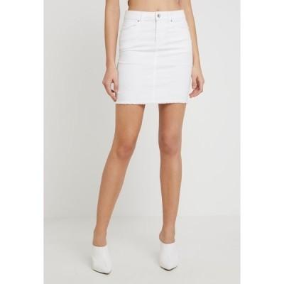 ピーシーズ スカート レディース ボトムス PCAIA SKIRT  - Denim skirt - bright white