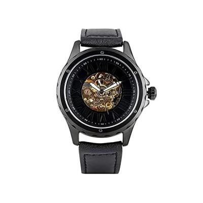 送料無料 メンズレトロ機械式腕時計 ブラックゴールド ホローアウト アラビア数字 文字盤 機械式腕時計 男の子用 絶妙なステンレススチール スケルトン 機械式腕