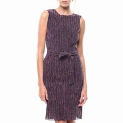 ファッションラボ パーティードレス stripe s/l slit hem belted dress Purple