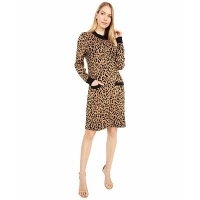 ジェイクルー ワンピース トップス レディース Mock Neck Sweaterdress in Leopard Heather Acorn Black