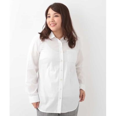 【エウルキューブ】 シンプルシャツブラウス レディース ホワイト LL eur3( 大きいサイズ)