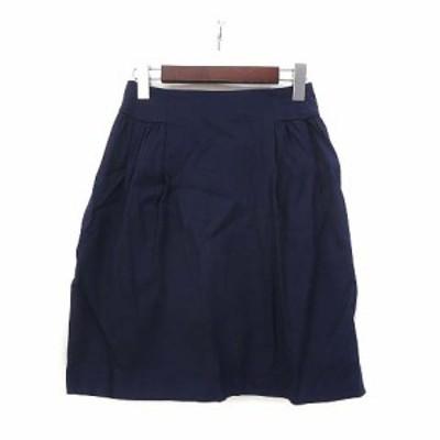 【中古】ボールジー BALLSEY トゥモローランド スカート 34 XS 紺 ネイビー ウール フレア 無地 シンプル 美品 レディース