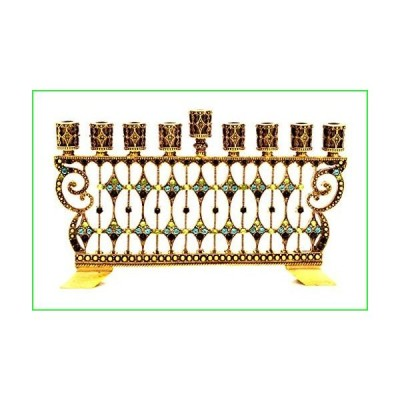 Decorative Menorah Jeweled Swarovski Crystal Aqua and Peridot Antique Brass Plating