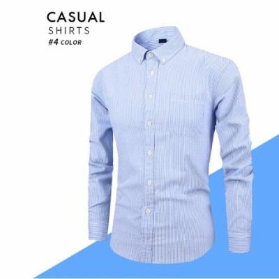 メンズ 縞模様 Yシャツ ワイシャツ メンズ トップス シャツ 4カラー cs16