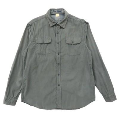 リバーシブル コーデュロイシャツ チェックシャツ 長袖 グレー サイズ表記:L