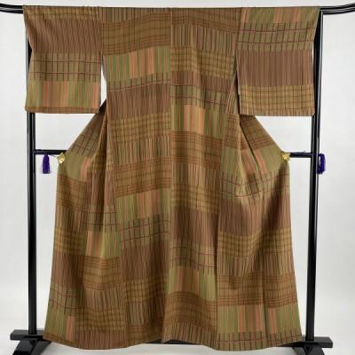 小紋 美品 秀品 縞 格子 鶯色 袷 158cm 67cm M 正絹 中古