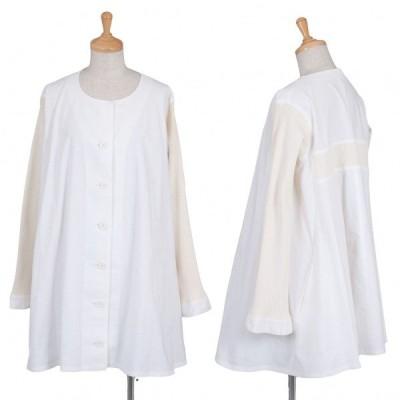 ヨウジヤマモト ファムYohji Yamamoto FEMME リブ切替ノーカラーシャツ 白クリームS 【レディース】