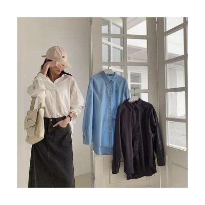 トップス レディース 夏 カジュアル シャツ ブラウス カットソー ルーズシャツ 襟付き 長袖 ゆるカジ 羽織物 レイヤード 無地 シンプル 在宅 仕事 大人