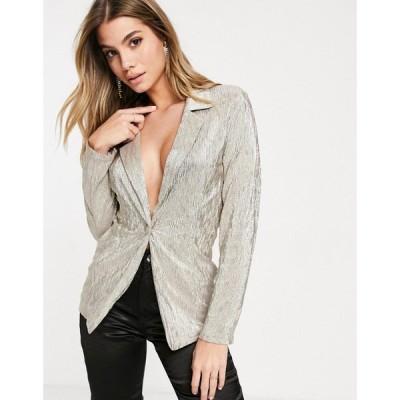 エイソス ASOS DESIGN レディース スーツ・ジャケット アウター Jersey Sparkle Suit Blazer In Silver シルバー
