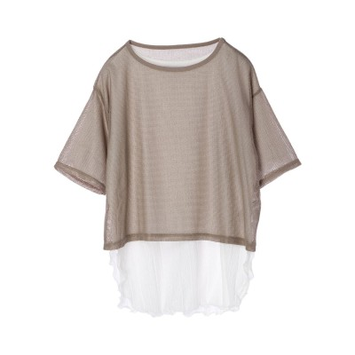 グリーンパークス Green Parks SET2点 メッシュトップス+インナーTシャツ (Khaki)