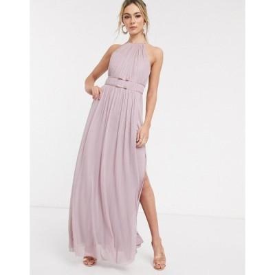 リプシー レディース ワンピース トップス Lipsy halterneck mesh full prom maxi dress in lavender Lavender
